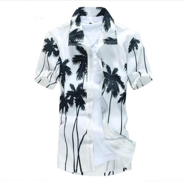 Мужская гавайская рубашка мужской повседневная camisa masculina печатных пляж рубашки с коротким рукавом бренд clothing Бесплатная доставка Азиатский размер 5XL
