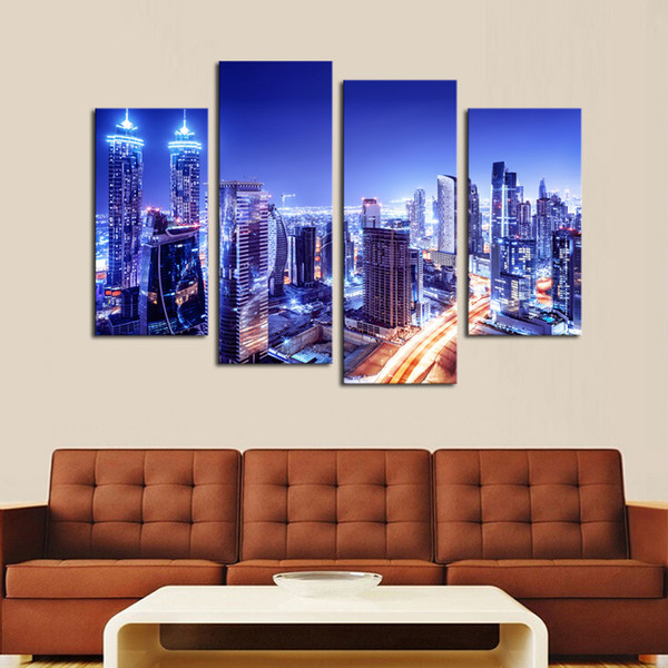Luxry Unframed 4 Piece City Lights Modern Wall Art HD Picture Canvas Print Painting For Living Room Decor
