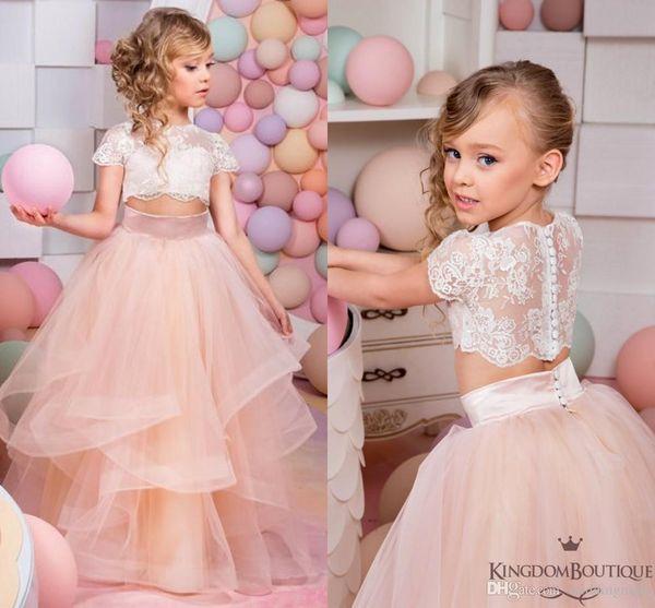 2019 Rosa de Duas Peças Lace Ball Gown Flower Girl Vestidos de Manga Curta Do Vintage Pageant Vestidos de Criança Bonita Flor Menina Vestidos De Casamento