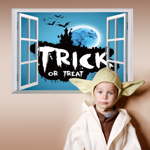 2017 New 3D Window Trick or Treat Halloween Wall Mural Sticker Castle Bat Festival Wall Decal for Kids Room and Nursery Decoration