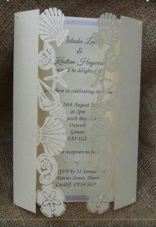 Romantico Hollow Sea Star Conchiglie Matrimonio Biglietti d'invito Personalizzato Partito stampabile Biglietto d'invito con busta di carta per 200 pezzi