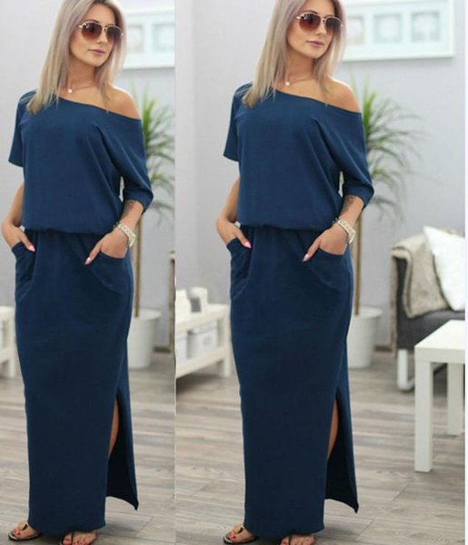 2017 Casual Dresses Hugely popular one-piece Maxi dresses Europe and the United States summer women irregular belt collar pocket long skirts