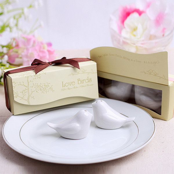 Wedding Favors and Gifts Love Birds Ceramic Salt & Pepper Shakers Caster Wedding Supplies Souvenirs Kitchen Tools 2pcs/box+DHL Free Shipping
