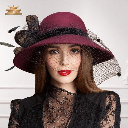 Women Dress Hat Satin Dress Hat Fashion Dress Church Hat Ladies' 100% Polyester Hats For Women Big Brim Navy New Arrival
