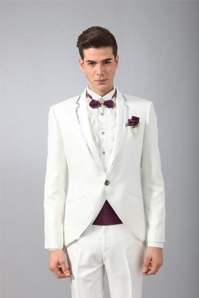 Classic Design White Groom Tuxedos Men's Wedding Dress Prom Clothing(Jacket+pants+tie+Girdle)