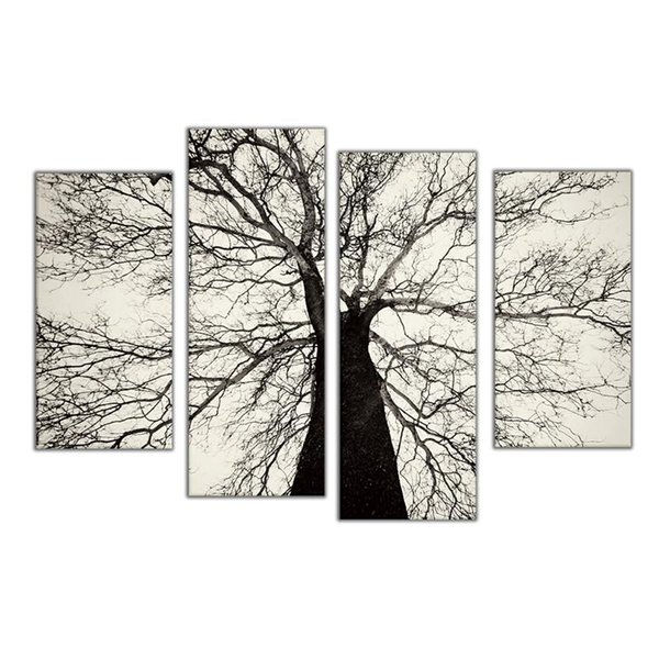 Famous Modern Paintings Black and White Winter Tree Oil Painting Spray Pain Art Home Wall Decoration