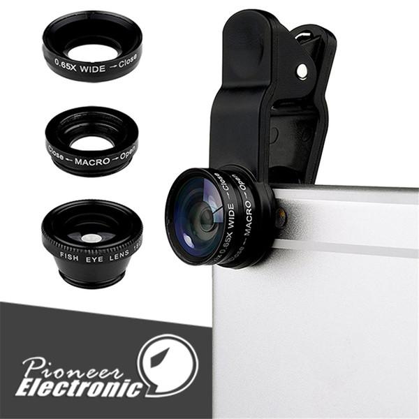3 in 1 Universal Metall Clip Kamera Handy Objektiv Fischauge + Makro + Weitwinkel für iPhone X Samsung Galaxy Note 8 S8 mit Kleinpaket