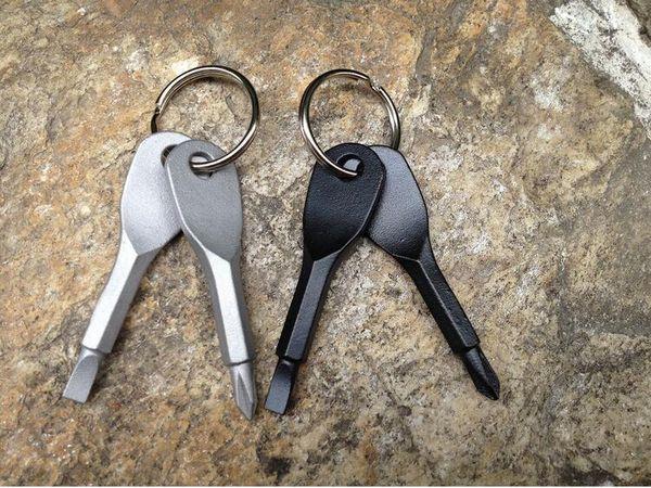 100 adet Çok Fonksiyonlu Cep Aracı Anahtarlık Ile Açık EDC Dişli Anahtarlıklar Oluklu Phillips Kafa Mini Tornavida Seti Anahtar Yüzükler