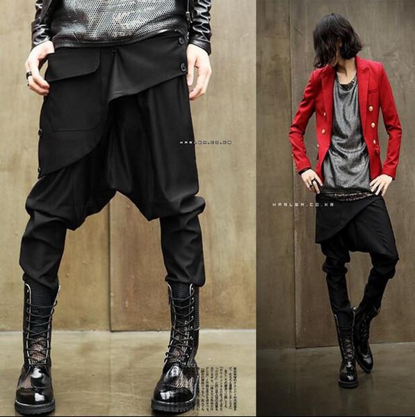 Wholesale-2016 Yeni varış Yenilik erkek Giyim erkek harem pantolon sıradışı moda kişilik tanıtım kostüm Metrosexual rahat pantolon