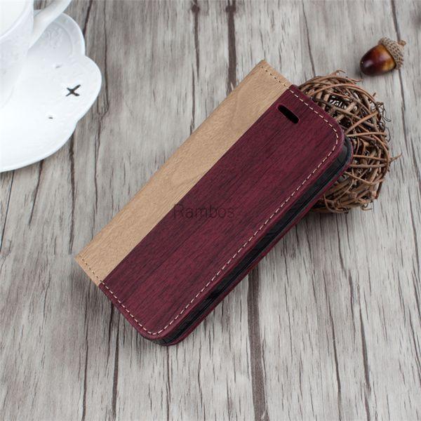 Teléfono móvil Retro de madera Accesorio para el teléfono Funda con tapa de cuero Carpeta de madera para el iphone 5 5s 6