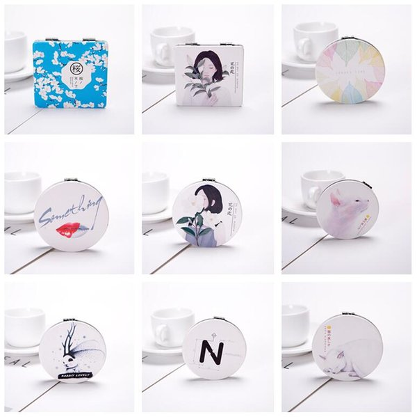 Free shipping Leather creative portable make-up mini-portable folding mirror double-sided mirror HM006 mix order as your needs