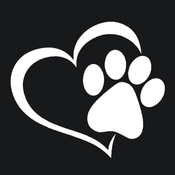 best selling Love The Dog Paw Print Window Decoration Decal Creative Motorcycle Car Stickers Black White