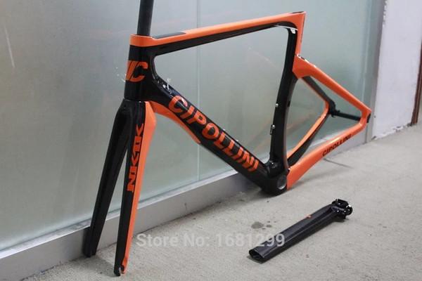 Nuevo 6 colores NK1K 700C Bicicleta de carretera mate 3K de fibra de carbono completa cuadro de bicicleta tenedor de carbono + tija de sillín + abrazadera + piezas auriculares envío gratuito