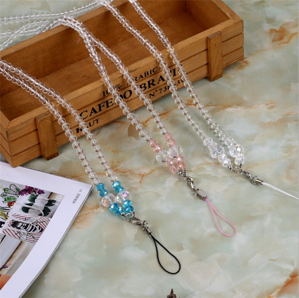 Universal mobile phone hanging neck long rope Pearl crystal long chain MP3 Lanyard keychain free shipping via DHL