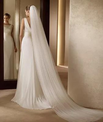 High Quality Ivory White Three Meters Long Two Layers Tulle Wedding Accessories Bridal Veils With Comb