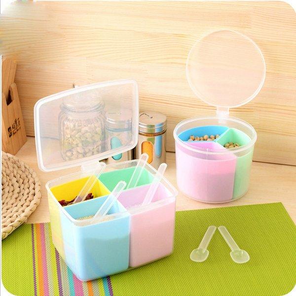Wholesale- New Multifunction Square/Round/Apple Plastic Random Color Detachable Multipurpose Seasoning Box Jar Set For Kitchen Storage