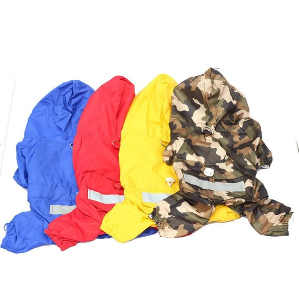 Double layer breathable Dog Raincoats Waterproof blue/red/yellow/camouflage Dog Poncho Dog Waterproof Clothes Pet Raincoat
