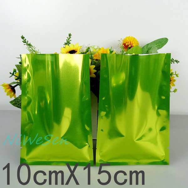 Free shipping 200pcs/lot X 10x15cm green aluminized mylar ping pocket-aluminum foil flat dry food packaging bag, heat open sealed pouch