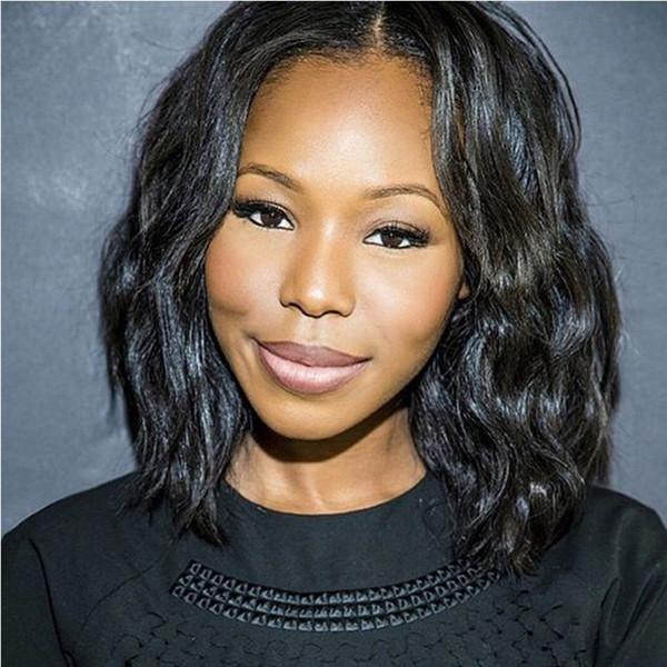 Indian Wavy Hair Glueless Lace Front Wigs Virgin Human Hair Wigs for Black Women Medium Cap Natural Color Bellahair