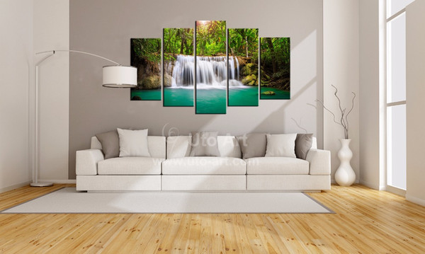 Wholesale Cheap Canvas Art Print Waterfall Modular Pictures 5 Piece Landscape Painting Home Decoration Wall Art