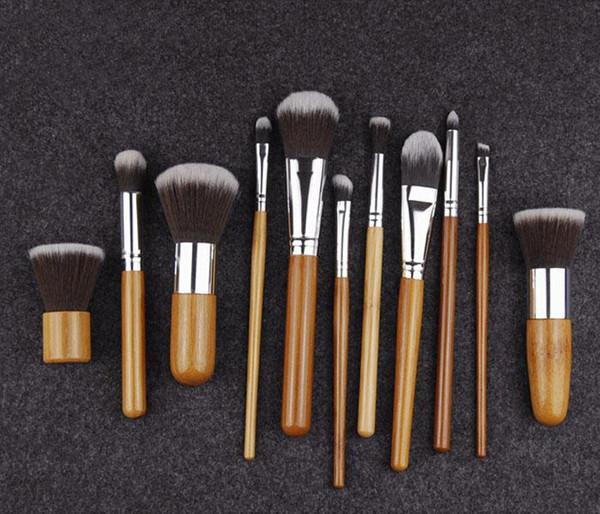 11pcs set Bamboo handle Makeup brush Bamboo pole Makeup Brushes Suit Bamboo pole With sack NOT EDM 20SET