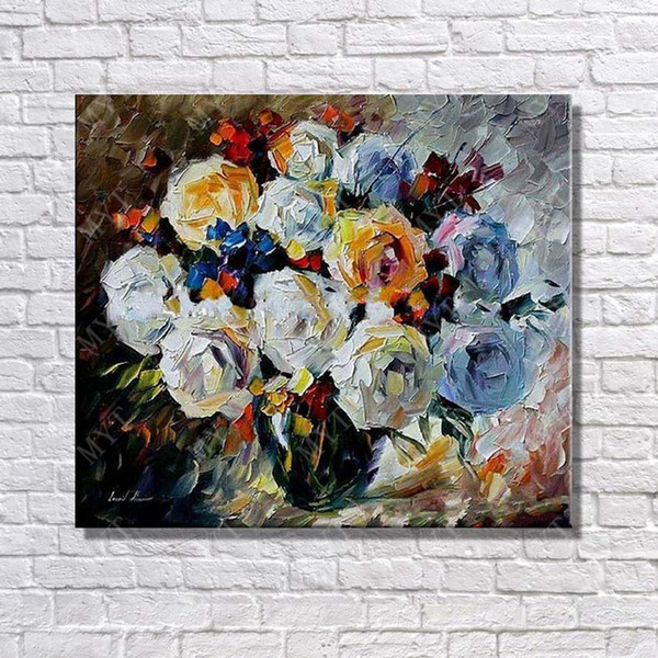 Free Shipping Abstract Vase Flower Oil Painting For Bedroom Decor Hand Painted Canvas Picture No Framed