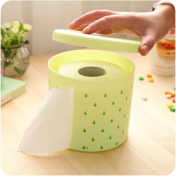 best selling Wholesale- Tissue Box Round Waterproof Plastic Toilet Paper Holder Large Dots Pattern Towel Rack Broader for Office Living Room New Fashion