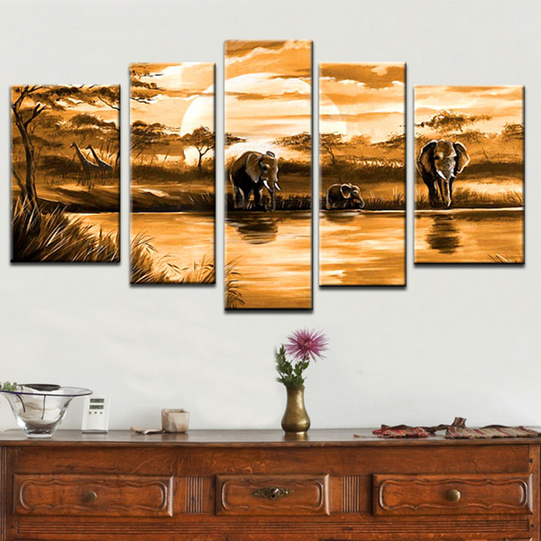 Multi piece combination 4 pcs/set 100%hand-painted Modern Oil Painting On Canvas African elephant animal abstract on the wall