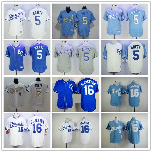 88fa00727 ... cheap mens kansas city royals 5 george brett 16 bo jackson jersey  throwback flexbase collection cool