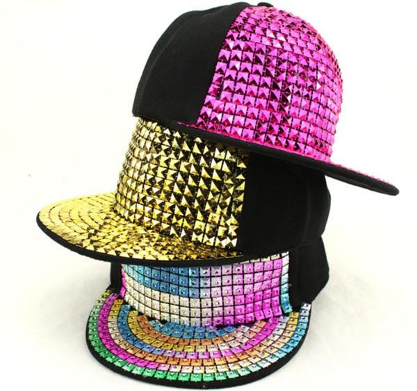 Personality Jazz Hat Snapback Cap Men/ Women Spike Studs Rivet Cap Hat Punk Style Rock Hiphop Pick