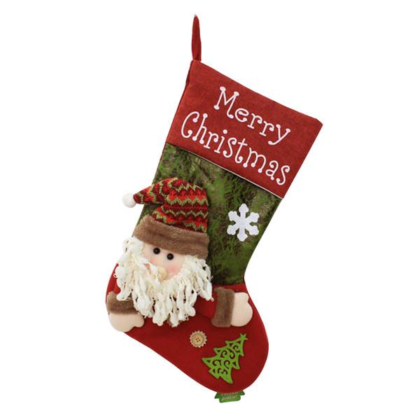 Décorations pour arbres de Noël Décoration de Noël Christma Stocking Père Noël Bonhomme de neige Sac Bonbons Sacs cadeaux