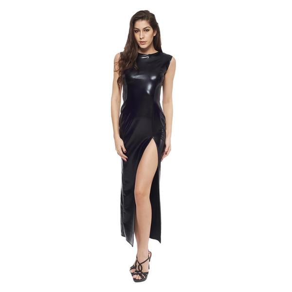 Couro sexy saia longa com luvas sexy pvc dominatrix clubwear traje de couro fancy dress dancewear para mulheres do sexo feminino b0402024