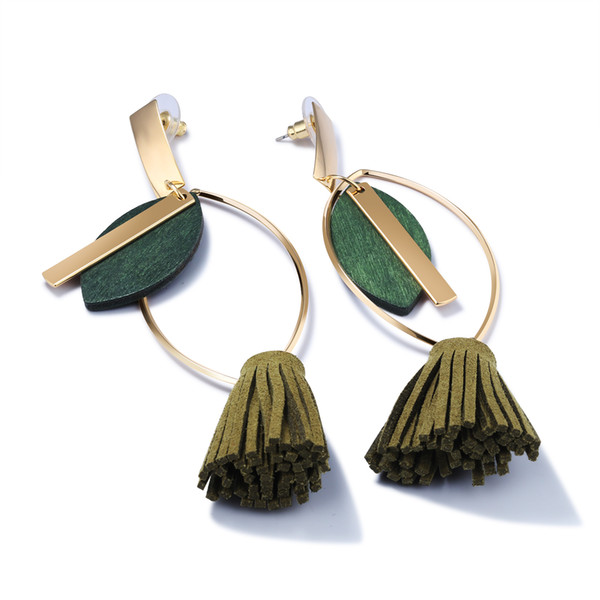 Vintage Drop & Dangle Tassel Earrings For Women Gold Color Olive Green Leaf Design 2017 Exaggerated Bohemian Style ,KE692