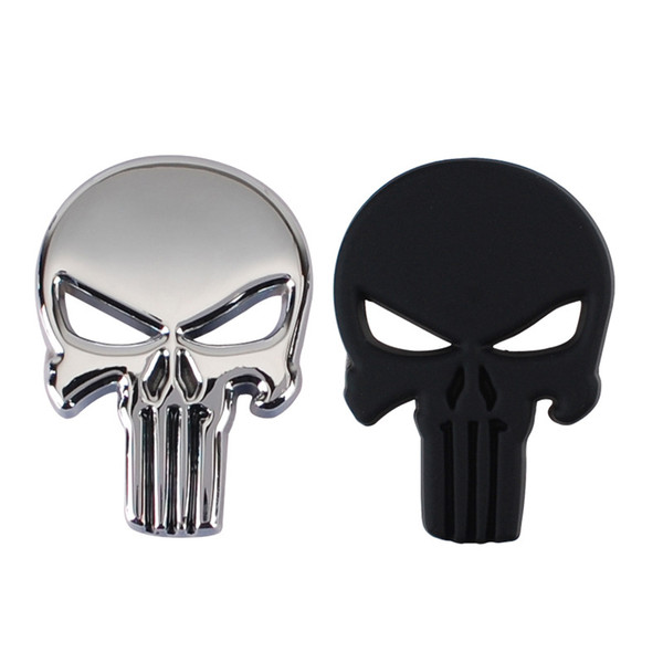 top popular Punk 3D Skull Car Front Sides Rear Decorations metal Badge Emblem for Univesal Car Silver 10pcs Lot Free shipping 2021