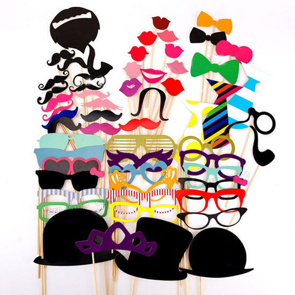 1set 58pcs graduation birthday party Photo Props Moustache Hat Small Eyes Paper Beard Wedding Party Supplies Bachelorette Party Photo Booth