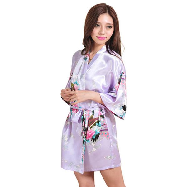Wholesale- 2015 Women Robe Pajama Japanese Yukata Kimono Satin Silk Vintage Bathrobe Nightgown Sexy Lingerie Sleepwear S M L XL XXL 3XL