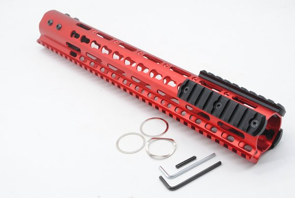 Unique Chinese Red 13.5'' Ultralight Key Mod Handguard Rail Mount With Steel Barrel Nut + 3 PCS Rail Section