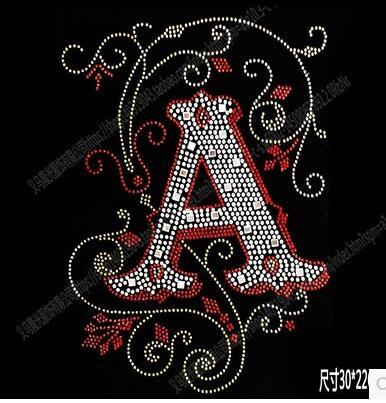 NICE New DIY 30*22cm letter A bling crystal patterns clothing accessories Hot Fix Rhinestones motif Heat Transfer on Design Iron On clothes