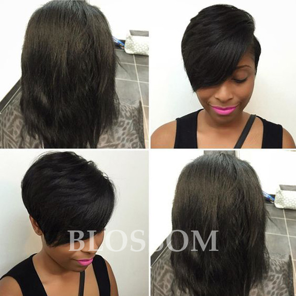 ced5ee913 Cheap Lace Front Human Short Hair Wigs African American Short Wigs for Black  Women 7A New