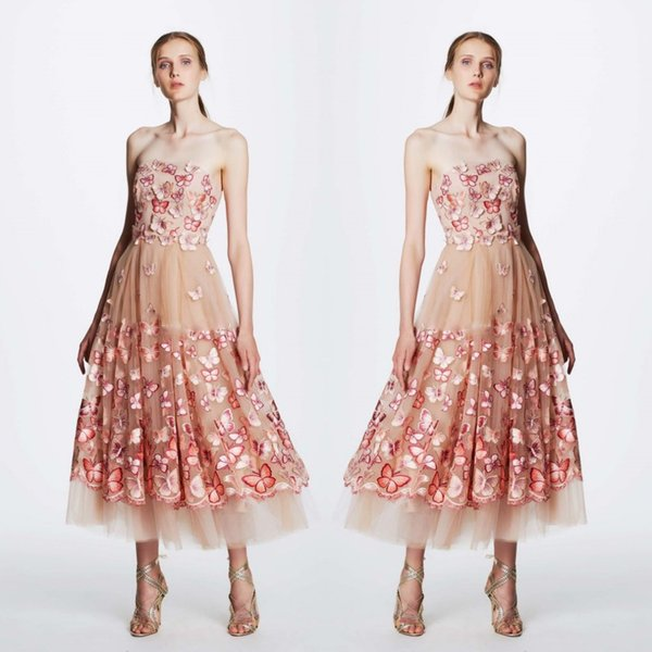 Elegant Tulle Prom Dresses 2017 Newest Strapless Butterfly Applique ...