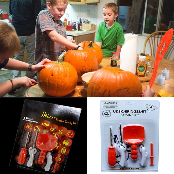 5 Pz / lotto Halloween Pumpkin Carving Kit FAI DA TE Per Bambini Bambini Bambini Zucca Lanterna Intaglio Giocattolo Coltello Set Strumenti WX9-83
