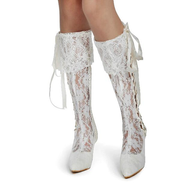 Vintage Lace Wedding Boots Knee Length White / Ivory Mid Heels Satin Bridal Shoes High Heel Boots Handmade (Customized Size Color Available)