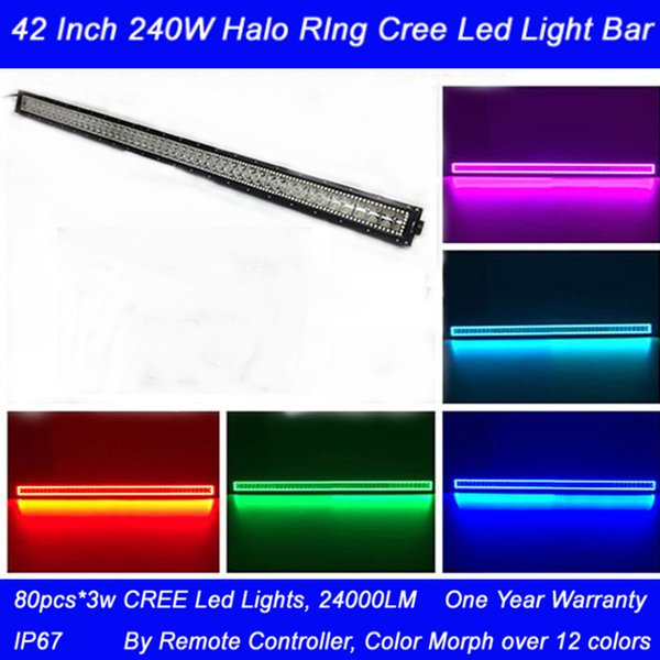240w 42Inch Straight RGB Halo Ring Light Bar with Remote Controller Combo Beam 3W CREE Led 24000LM Waterproof