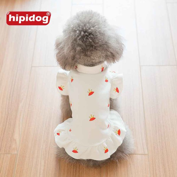 Hipidog Classic White Pet Dog Cat Hoodie Coat Autumn Spring Cute Printed Crown Skirt Dress Apparel for Teddy Poodle Small Dogs