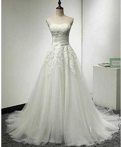 free shipping A-line Wedding Dress Sweep / Brush Train Strapless Tulle with Appliques / Ruche babyonline