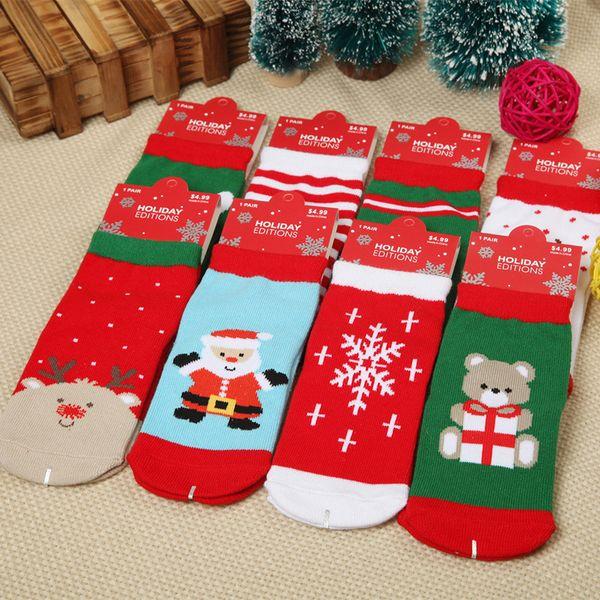 Nuevo Calcetín de Navidad Lucky Deer Papá Noel Oso Copo de nieve Niños Boy Girls Socking Niño Algodón Christmas Socking 7 estilos