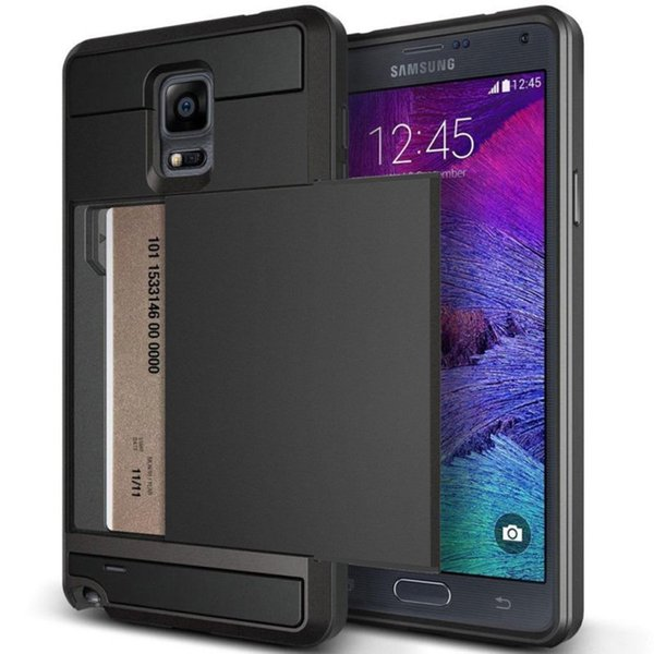 Impact Resistant Wallet Anti-scratch Protective Shockproof Rubber Bumper Card Slot case for Samsung galaxy note 3 note 4 note 5 S4 S5