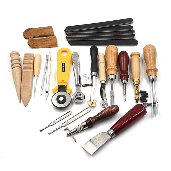 20pcs Leather Hand Tools for Leathercraft Set Costura Kit Punch Stitching Sewing DIY Stamp Gift
