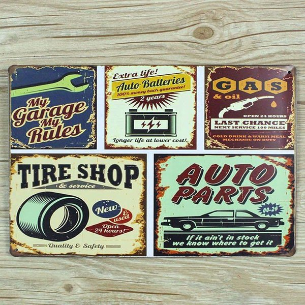 """NEW arrival """" tire shop and car gas """" 0243 metal vintage tin signs home decorative plates wall art craft bar poster 20X30cm"""