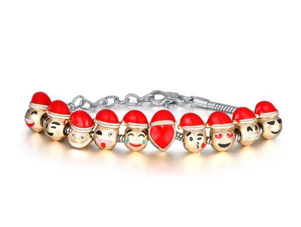 NOVO Top Grade Emoji Charme Pulseira Dog Beads Banhado A Ouro Homens jóias Pulseira para As Mulheres DIY Fit Pulseira de Presente de Natal CC769